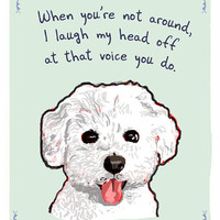 Bichon 5x7 Print of Original Painting with by tinyconfessions
