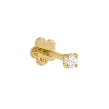 Tiny Solitaire CZ Threaded Stud Earring 14K