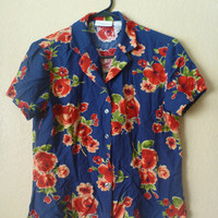 vintage 80's blue floral hawaiian blouse/shirt