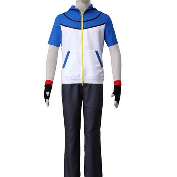Pocket Game COS  Ash Ketchum Cosplay Costume with Gloves and Vest Hat Uniform Adult UnisexKawaii Pokemon go  AT_89_9