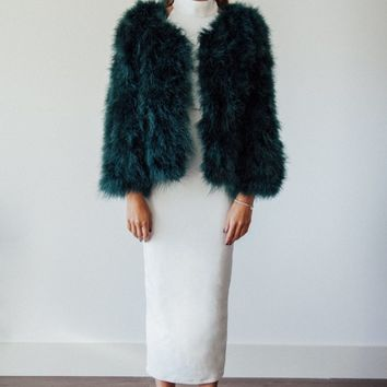 Emerald green Ostrich Feather coat - Mimi & Bow