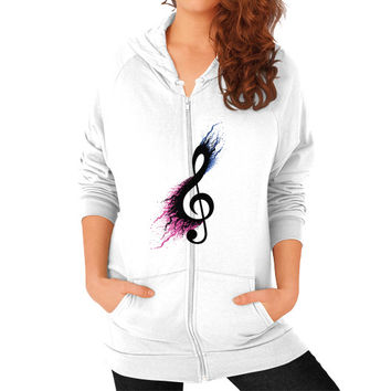 Music sign spill Zip Hoodie (on woman)