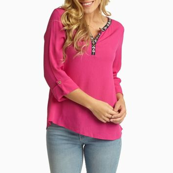 Fuchsia Tribal Embroidered Neckline Linen Top