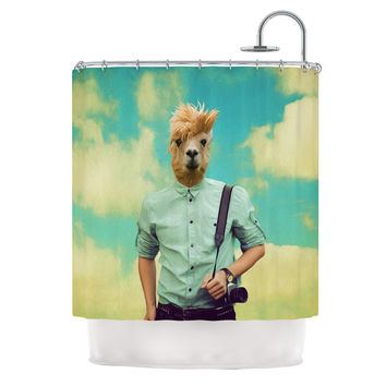 "Natt ""Passenger 1B"" Llama Shower Curtain"