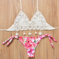 Fashion women upper white knit weave halter back knot bottom floral print side knot two piece bikini