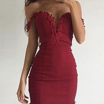 Appliques Sheath Short Off Shoulder Burgundy Homecoming Dress