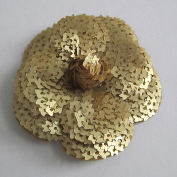 Authentic CHANEL Gold Sequin Camellia Flower Sticker / DIY Brooch / Badge / Pin *FREE Shipping*