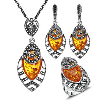 2016 New Arrival Unique Antique Jewelry Silver Plated Necklace Set Black Crystal And Faux Amber Jewellery Sets For Women