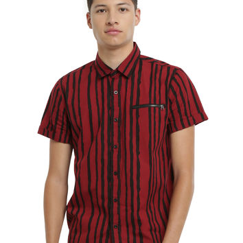 XXX RUDE Red & Black Stripe Short-Sleeved Woven