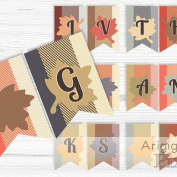Give Thanks Banner, Thanksgiving party bunting, falling leaves, family photo prop, Boxingday, digital download, ready to print PDF file