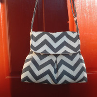 Grey chevron crossbody bag