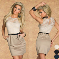 Top Quality NEW Fashion Dress Novelty Lace Print Summer dresses Women Clothing Work wear Sexy Party Work Style with belt 5417