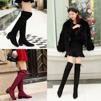 ac VLXC Hot Deal On Sale Stretch Winter Pointed Toe Suede Boots [120849956889]