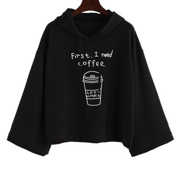 Black Pullovers Blouse Women long Sleeve  First I Need Coffee Print