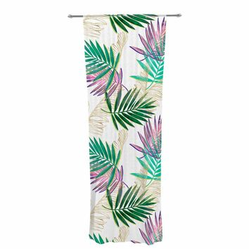 """mmartabc """"Palm Leaf Colorful And Gold"""" Gold Multicolor Nature Pattern Illustration Digital Decorative Sheer Curtain"""