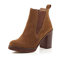 River Island Womens Brown suede Chelsea block heel ankle boots