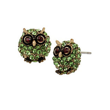 SURREAL FOREST GREEN OWL STUD EARRINGS: Betsey Johnson
