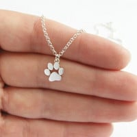 1pcs Tassut Cat Dog Paw Print Necklace Animal Silver Gold Choker Necklace Women Pendant Long Cute Delicate Statement Necklace