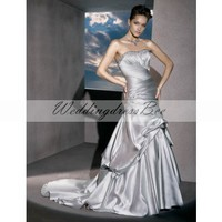 Pretty A-line dropped waist satin wedding dress