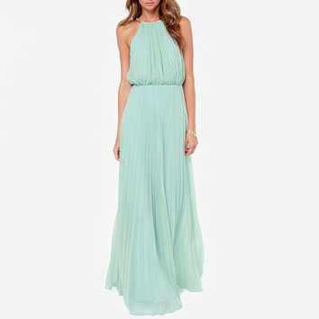 Halter Sleeveless Ruched Blouson A-Line Maxi Dress