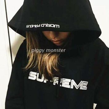 VONEB7T Supreme Fashion Sequins Tea Black Hooded Sweater G-A-XYCL