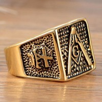 Bold Gold Color Knights Templar Masonic Ring
