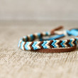 Friendship Bracelet Ivory, Turquoise and Brown Chevron Cord Adjustable Knotted Fiber