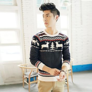 Men Ugly Christmas Sweater Long Sleeve Knitted Wool Pullover Fashion Jacquard Deer O-neck Sweater Y1006