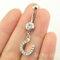 bellyring,horse shoe belly button jewelry,lucky belly button rings,horseshoe navel ring,piercing belly ring,friendship bellyring