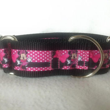 "Nylon w/Minnie Mouse Ribbon Leash, Martingale or Quick Release Collar Ribbon Collar 1"" Martingale 1.5"" Martingale"