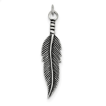 Sterling Silver Antiqued Feather Pendant QC6599