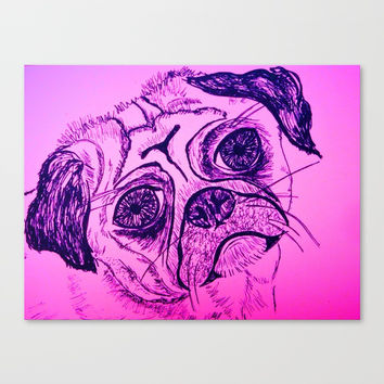 Little pug dog line drawing Canvas Print by Oakend Originals
