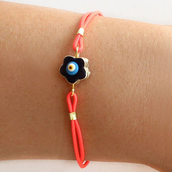 Evil eye bracelet handmade neon pink cotton cord and blue evil eye flower istanbul jewelry ethnic arabic best friend birthday gift
