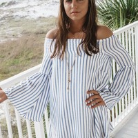 Just My Style Striped Off The Shoulder Dress