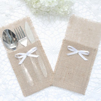 Set of 20-Burlap Silverware Holder wish pearl and  bow  - Table Decor - Rustic Wedding - Wedding Table  - Table Setting
