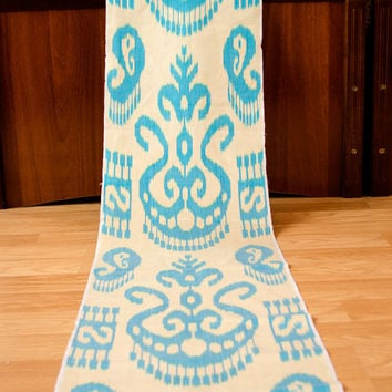 ikat, table runner, table cloth, fabric by the yard, ikat fabric, blue, cream, design, interior, home decor, make curtians, dress, handwoven
