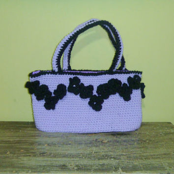 Crochet Lavender and Black Floral Purse/Bag/Small Tote