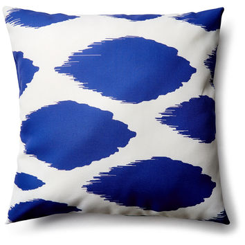 Ikat 20x20 Outdoor Pillow, Navy, Decorative Pillows