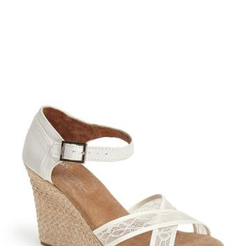"Women's TOMS Lace & Grosgrain Ribbon Wedge Wedding Sandal, 3 1/2"" heel"