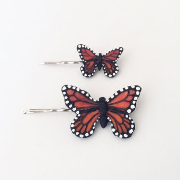 Monarch Butterfly Hair Pins // Mariposa Hair Decor // Polymer clay // Migration is Beautiful