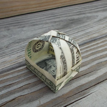 One Dollar Bill Origami Basket With Top Handle