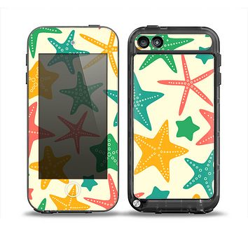 The Tan And Colorful Vector StarFish Skin for the iPod Touch 5th Generation frē LifeProof Case