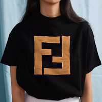 Fendi tide brand men and women double F embroidery letter round neck half sleeve shirt