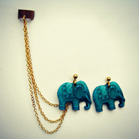 ear cuff with turquoise elephant earrings, chains ear cuff, ear cuff earrings, ear cuff with chains
