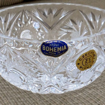 Vintage BOHEMIA LEAD CRYSTAL/New not Used/1950's Small Crystal Bowl from Czechoslovakia/Pin Wheel n Stars Pattern/Lead Crystal Fruit Nappie