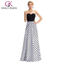 Long Black Evening Dresses Grace Karin robe de soiree Chiffon Evening Gown Polka Dots abendkleider Formal Dress GK000037