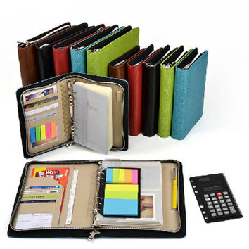 Logo Customized A5 & A6 Business Zip Bag Planner Leather Notebook With Calculator Or Memo Pad For You To Choose