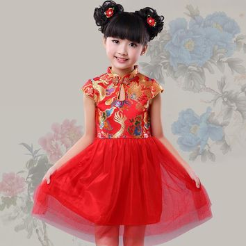 NEW red Chinese Festival Outfit Hanfu costume traditional cheongsam qipao dress girl party birthday performance clothes