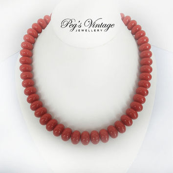 Vintage Red Lucite Bead Necklace/Choker, Summer Fashion Jewelry