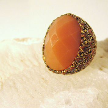 Vintage HUGE ring pink gold copper Boho by colorsoulartistry